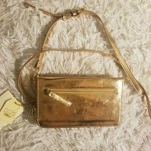 Rose gold metallic phone wristlet crossbody purse
